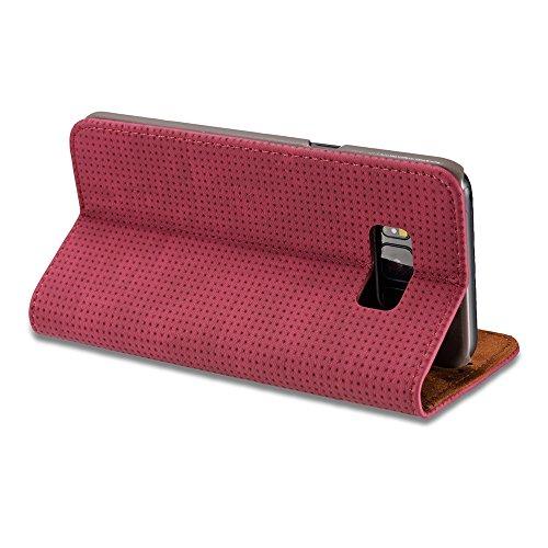 Retro Matte Breatheable Air-Mesh PU Leder Brieftasche Case Cover mit Kickstand Card Slots für Samsung Galaxy Note FÜHL ( Color : Yellow ) Red