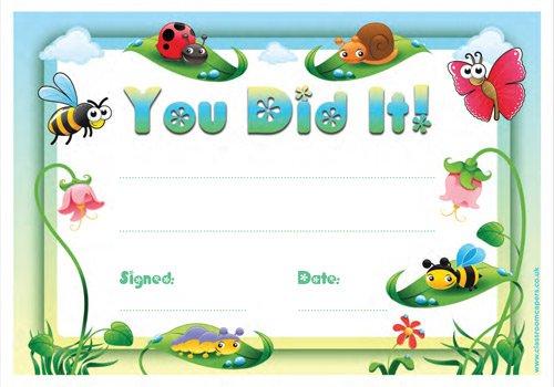 30x You Did It. Award ZERTIFIKATE für Kinder-Biene, Schmetterling & weiteren niedlichen Insekten Design