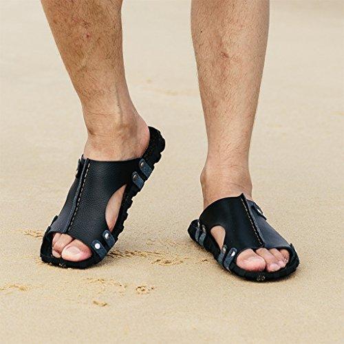 Chaussons DWW Sandales à Semelle Extérieure en Cuir Antidérapant Pour Hommes Summer Slipper Leather Summer Beach A