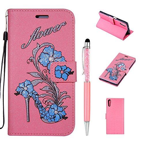 Handytasche für Sony Xperia XZ/XZs, ZCRO Elegant Leder Handy Hülle Brieftasche Schutzhülle mit Kartenfach Muster Glitzer Geprägte Blumen Glitter Flower Etui Magnet Tasche Standfunktion Hüllen Flip Case mit Stift für Sony Xperia XZ/XZs (Rosa,Blau)