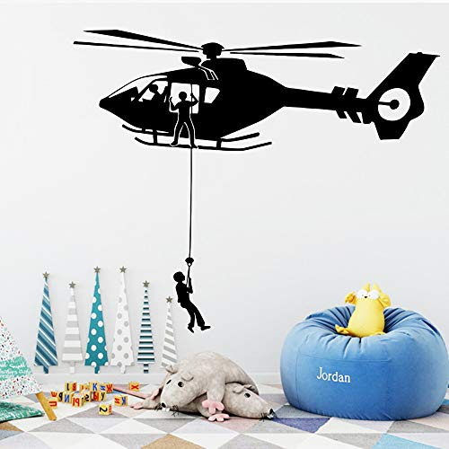 Typpk cartoon air force hubschrauber vinyl wandaufkleber abnehmbare kinderzimmer dekoration schlafzimmer art deco wandaufkleber schwarz 43x103 cm