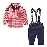 ARAUS-Baby Jungen Bekleidung Set Hemd Hose mit Hosenträger langarm karierte Hemd mit Fliege Latzhosen rot 90