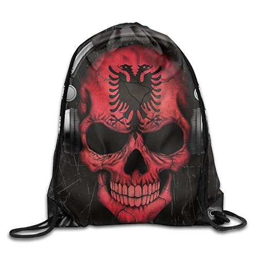 Doormat bag Dj Skull With Albanian Flag Cool Drawstring Travel Sports Backpack Gift