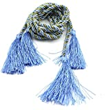 HuntGold 1Par cortina de ventana cortina decorativa 182,88banda atar cuerda borlas) (azul)