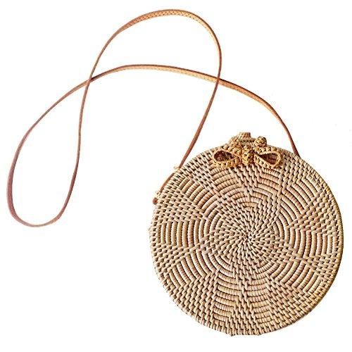 Oshide - Bolso bandolera para mujer, diseño de paja