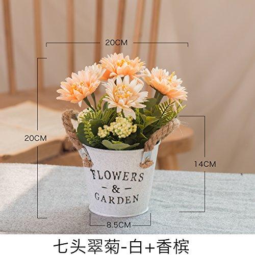 WANG-shunlida Künstliche Blumen, Wohnzimmer Dekoration, Blumen arrangieren, einen Esstisch, Tisch Blumen, Topfpflanzen Blumen und Ornamente, Weiß Champagner