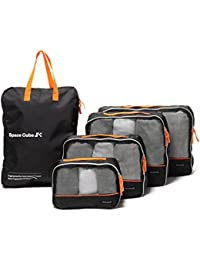 Packing Cubes for Travel - Premium 5 pcs Suitcase Organiser Bags. Perfect Travel Organiser Luggage Cubes or Packing Cubes for Backpack. Value Set Two-Way Zip Tote for Laundry Bag, Shoe Bag, Day Trips.