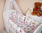 Amilian® Baby Nestchen Bettumrandung 420 cm Design: Eule weiß Bettnestchen Kantenschutz Kopfschutz für Babybett Bettausstattung
