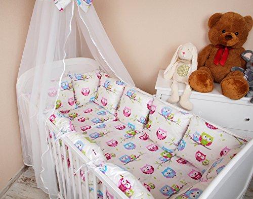 Baby-Set di biancheria da letto con copripiumino e federa cuscino per lettino, con paracolpi, motivo: gufo II, 100 x 135 cm, colore: bianco