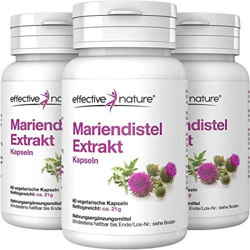effective nature Mariendistel-Extrakt im Vorteilspack, Enthält 80% Silymarin - Ohne Zusatzstoffe - Reich an ätherischen Ölen, Bitter- und Gerbstoffen, 3 x 60 vegetarische Kapseln -