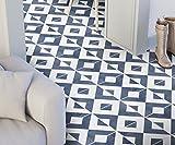 Moonwallstickers Marokkanische Fliesenaufkleber Blau Geometrische Wandmuster Ideen (Packung mit 24) (Boden - 15 x 15 cm)