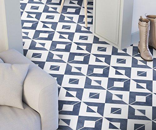 Marokkanische Fliesenaufkleber Blau Geometrische Wandmuster Ideen (Packung  Mit 24) (BODEN   15 X 15 Cm)