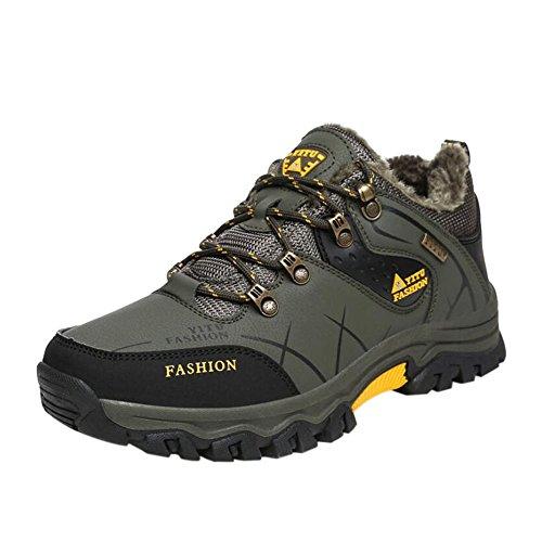 Haodasi Herren Wanderschuhe High Top Trekking Schuhe Rutschfeste Outdoor Warm Waterproof Walking Klettern Sneakers J5FdeC