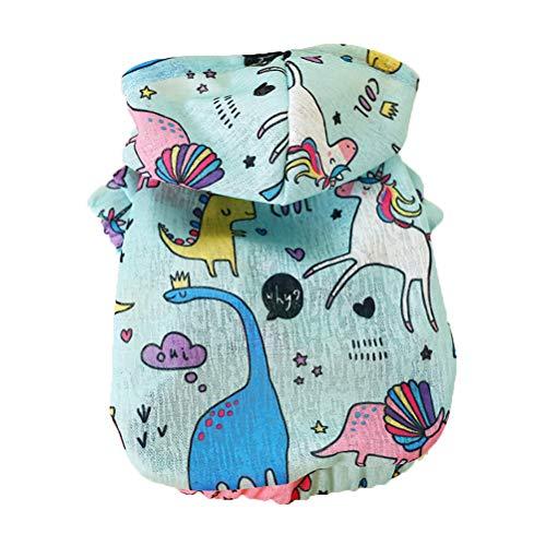POPETPOP Hund Hoodies Kleidung Sommer Sonnenschutz kostüm atmungsaktiv für Hund Teddy pudel pommern (blaues Einhorn, - Einhorn Kostüm Männlich