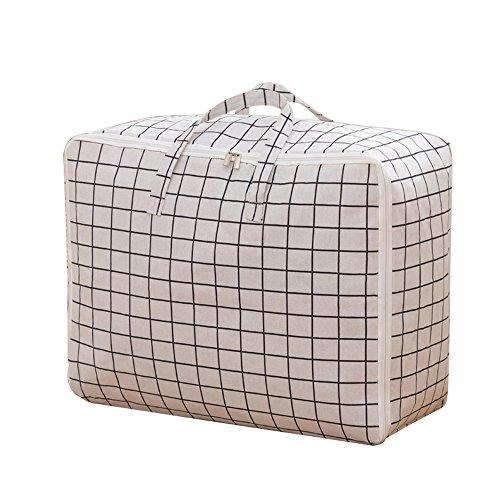 Übergroß Wasserdichte Tasche Aufbewahrungstasche für Bettdecke Umzugs Tasche mit Reißverschluss Quilt Decke Kissen Kleidung Pullover Organizer Tasche Stoff Kleidung Bag Bettwäsche Organizer Container, Textil, weiß, Large: 60*45*28 cm