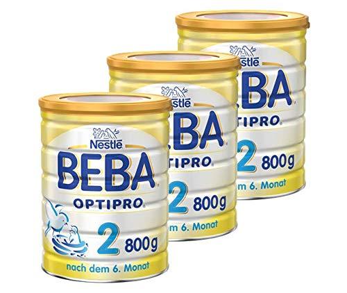 Nestlé Beba Optipro 2 Folgemilch Pulver ab dem 6. Monat, Baby-Nahrung als Pulver, im Anschluss an das Stillen, bei angemessener Beikost 3er Pack (3 x 800g Dose)