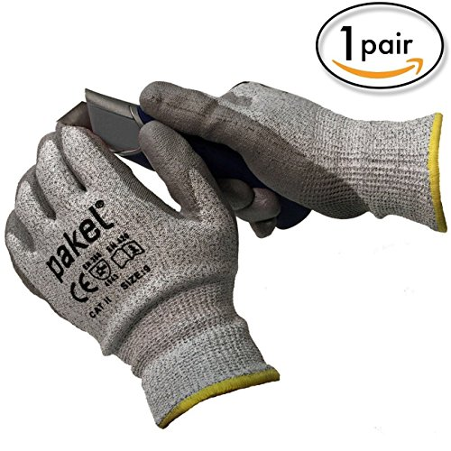 Pakel, schnittfeste Handschuhe, EN 388, CE-Level 5, Medium (Size 8), grau, 1