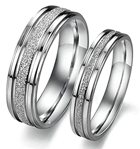 anazoz Fashion Jewelry Dull polonais en acier inoxydable Design autour ciecle Bague Unisexe Argent pour His & Her