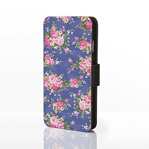 iCaseDesigner Étui à rabat en similicuir pour iPhone Motif floral Style shabby chic vintage, Cuir synthétique, Design 21: Pink and Blue Flowers on Navy Blue Background, iPhone 5C Design 1: Pink Roses on Purple