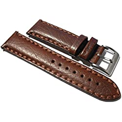 20mm Buffalo Grain Brown Italian Leather Watch Strap. Hand stitched.