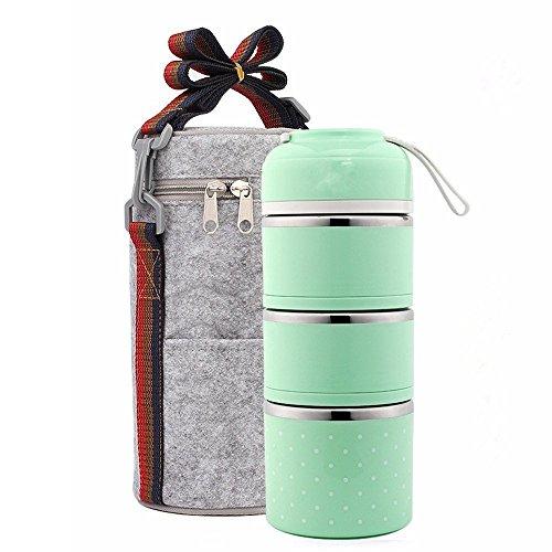 Lunchbox/Bento Box Portable Food Grade Edelstahl Container Isolierung Brotdose, 3 Layer Mit Tasche ( Color : Green ) (Food Grade Edelstahl)