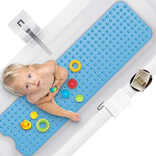 Bathtub Mats Non Slip Mildew Resistant, Extra Long Bath Tub Mat Nonslip Matts with Suction Cup for Bathroom, Bath Mat Kids , Machine Washable, 100 x 40cm, Blue