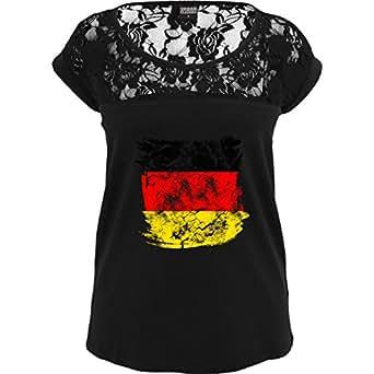 TB714 Sexy Damen Frauen Mädchen Spitzenshirt mit großem Rundhalsausschnitt und Spitze, Ladies Girls Top Laces Tee – EM 2016 – Frankreich – Deutschlandflagge Pinsel