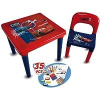 Cars D'Arpèje CDIC016 Mesa y silla infantil con set para colorear