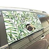Reopx Grüne Pflanze Bambusblatt Wilde Faltbare Hund Sicherheit Auto Gedruckt Fenster Zaun Vorhang Barrieren Protector Für Baby Kind Einstellbar Flexible Sonnenschutzabdeckung Universal Fit Für SUV