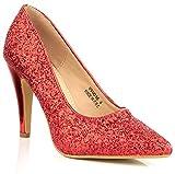 Phoenix Damen Durchgängies Plateau Sandalen mit Keilabsatz, Rot - Rot - Größe: 42