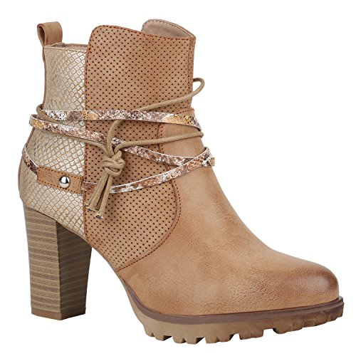 Damen Stiefeletten Biker Boots Used Look Prints Metallic Schuhe 151469 Hellbraun Metallic 38 Flandell