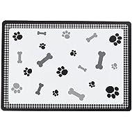 Petface Bones Black Pet Food Placemat