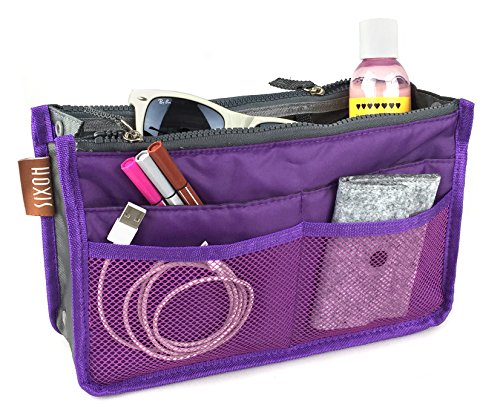 hoxis-nylon-handbag-insert-comestic-gadget-purse-organiser-expandable-with-handles-purple