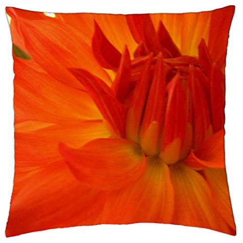 Orange Dahlia - Throw Pillow Cover Case (18