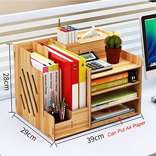 Wooden Desk Organizer, Large Capacity DIY Office Supplies Storage Box File Rack Paper Document Magazine Holder Sorter (Cherry Wood)