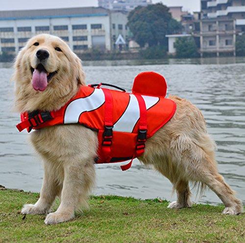 Xiaoyu Giubbotto di Salvataggio per Cani, Gilet Regolabile per Cani con salvagente per Animali Domestici, Giubbotto di Salvataggio novizio per Animali Domestici, Rosso, M