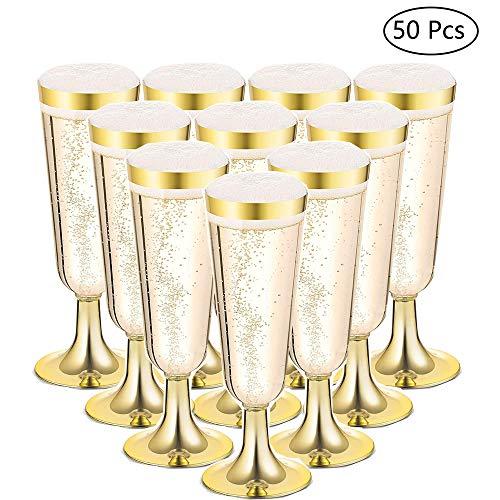 Gold Umrandeten Champagner Flöten - Klare Harte Einweg Party & Hochzeit Tassen - Premium Heavy Duty Phantasie Champagner Flöte Oder Toasten Gläser (5 Oz) ()