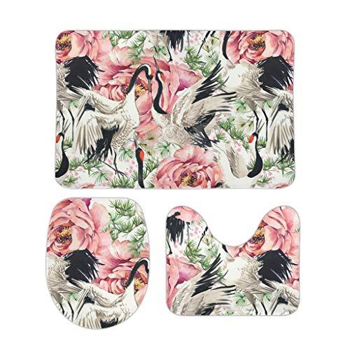 Kupen Set of 3 Crane Plant Asia Pine Witzig U-förmige Abdeckung Bademattenabdeckung Sets für Badezimmer White 50x80cm