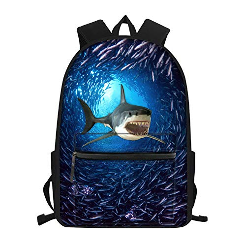 Nopersonality Rucksack für Mädchen und Jungen, 3D-Druck, leicht, wasserdicht, Underwater Shark Blue (Blau) - Nopersonality