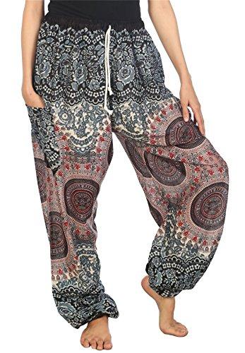 Lofbaz Pantaloni Coulisse da Donna Harem Boemo bohemien Casual Aladdin Spiaggia Floral 1 Bianco