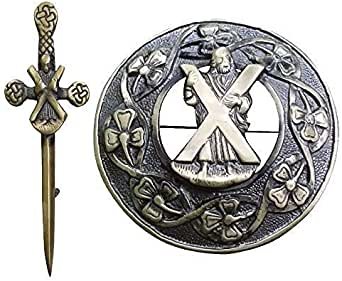 broche Kilt St Andrew chrome Nouveau Scottish Highland St Andrew celtique épée kilt pin