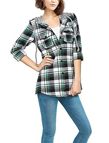 Allegra K Women Drawstring Hooded Button Fastening Casual Plaid Shirts