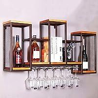 BTJJ Estante del Vino del Hierro labrado del Vintage, Estante montado en la Pared del Vino de Madera Sólida, Restaurante Minimalista del Bar Decorado portavasos (Color : A)