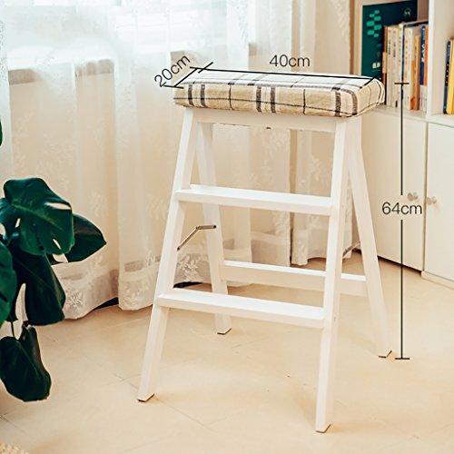LIZITD Stufenhocker, Massivholz europäischen Holzleiter Weiß, Haushalt Küche Erwachsenen...