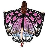 WOZOW Damen Schmetterling Flügel Kostüm Nymphe Pixie Schals Poncho Umhang Faschingkostüme Kostümzubehör Zubehör (heißes rosa weiß)