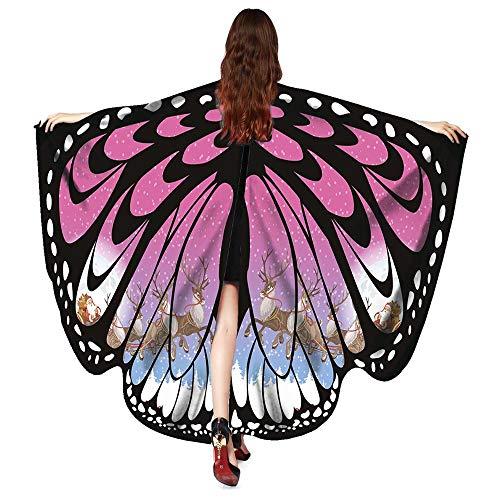 Geili Damen Weiche Gewebe Schmetterlings Flügel Schal Feenhafte Nymphe Pixie Weihnachten Christmas Festlich Cosplay Kostüm Zusatz Frauen Ägypten Bauch Flügel Tanz Kostüm Tanz ()