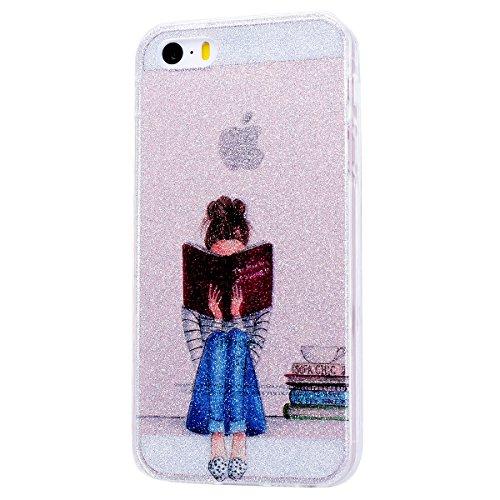 WE LOVE CASE iPhone 5S / 5 / SE Hülle Glitzern Transparent Durchsichtig Schwarz Gelb iPhone 5S / 5 / SE Hülle Silikon Weich Streifen Handyhülle Tasche für Mädchen Elegant Backcover , Soft TPU Flexibel Reading girl