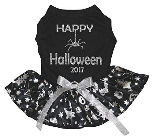 eidung Hund Kleid Halloween 2017schwarz Top Silber Kürbis Tutu ()