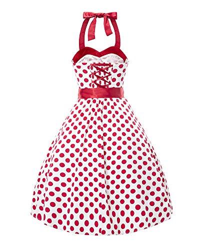 LaoZan Damen Rockabilly Polka Dots Kleid mit Gürtel Audrey Hepburn Vintage Kleid Cocktailkleid Weiß Rot