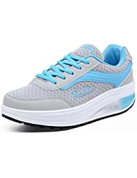 SHINIK Zapatos atléticos casuales de las mujeres Zapatos de verano Shake Zapatos antideslizantes gruesos azul/...